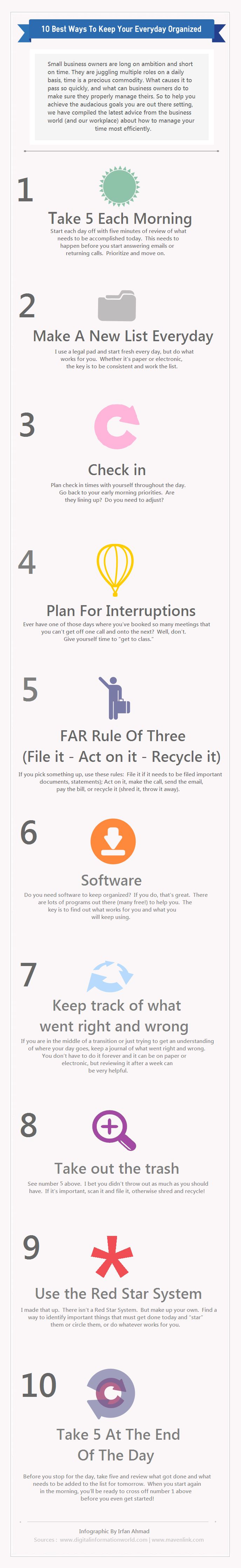 """10 best ways to keep your days organized for small business owners – """"1) Take fi"""