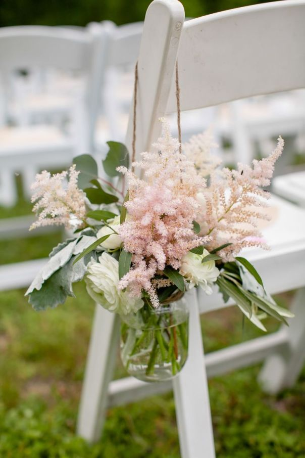 Blush pink astilbe decorates the aisle | Photography: The Nichols - nicholsphotographers.com/index2.php  Read More: http://www.stylemepretty.com/2014/08/21/romantic-outdoor-wedding-at-the-winfield-inn/