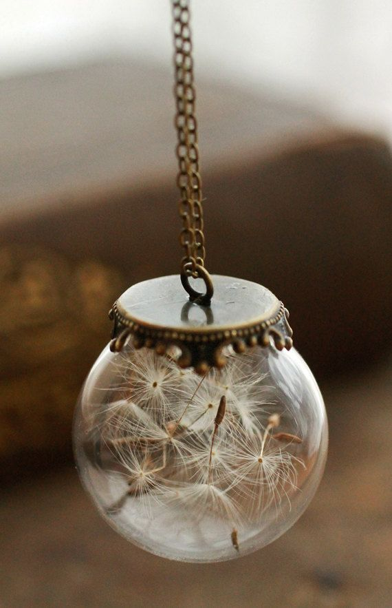 Dandelion Wish Necklace Real Dandelion Seeds Glass Orb Make A Wish Pendant Lucky Charm