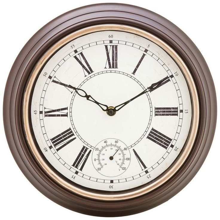 Weatherproof 12 Round Outdoor Patio Temperature Gauge Antique Style Wall Clock New Home