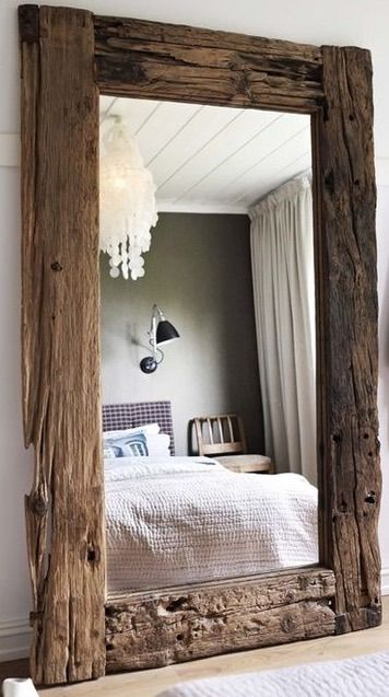A Full Length Mirror Framed In Old Wood RusticWoodsy Decor Pinterest