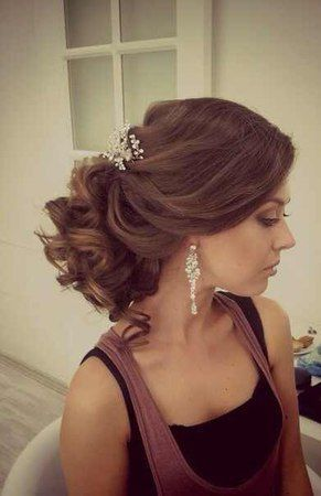 Wedding hairstyle Large curls for shoulder length hair