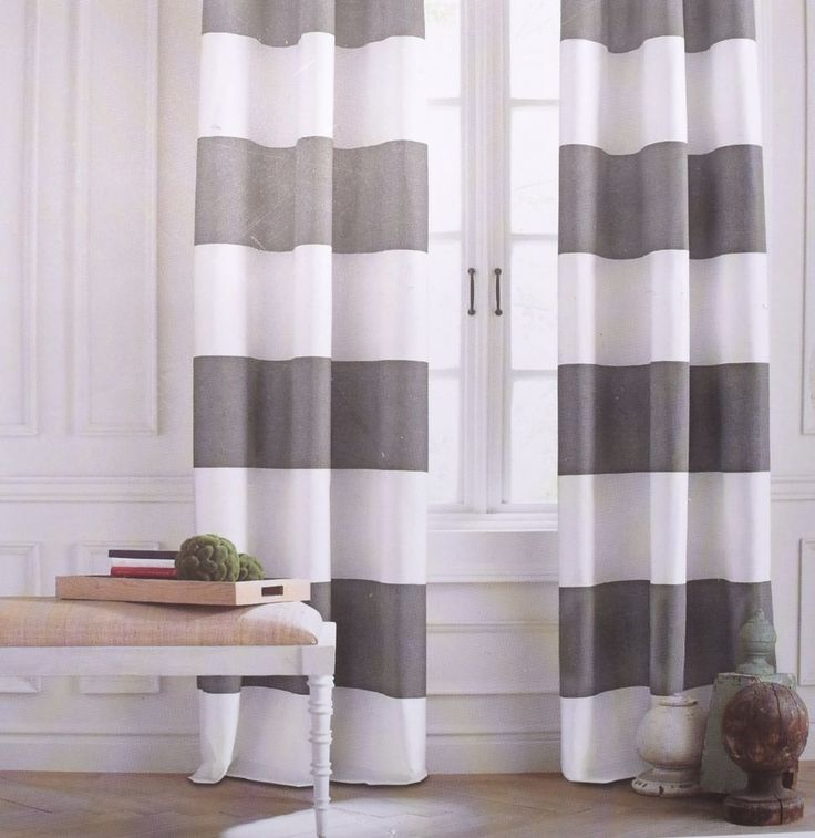 Tommy Hilfiger CABANA STRIPE Gray White Grey 2pc Window Curtain Panels 84 PAIR Gray Grey And