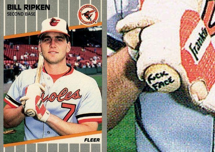 1989 fleer bill ripken 616 baseball card fck face