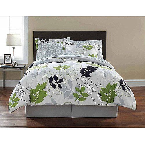 Details About Green Leaves Gray Leaf Comforter Sheets Sham