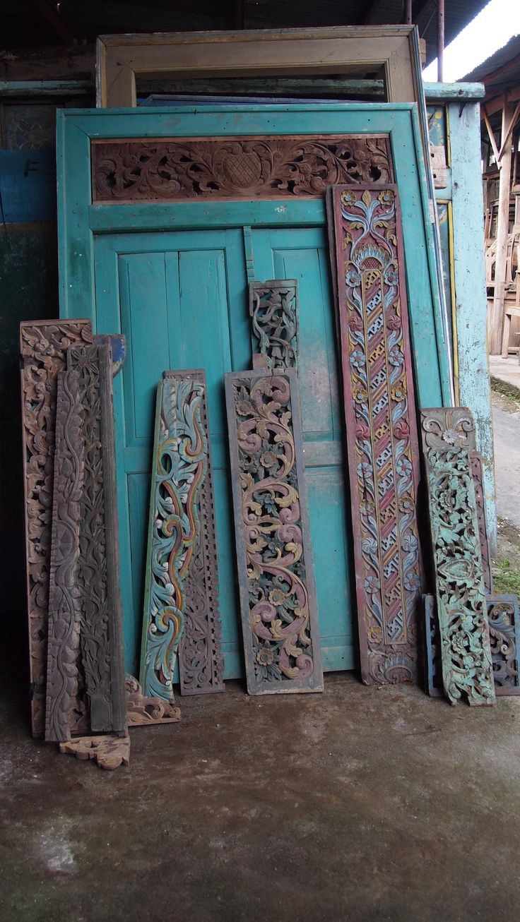 Indonesian Antique Carved Door Panels Ethnic Style