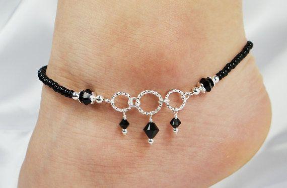 Anklet, Ankle Bracelet, Jet Black Swarovski Crystal Dangles, Circle Ring Connectors, Beaded, Customizable, Wedding, Beach,
