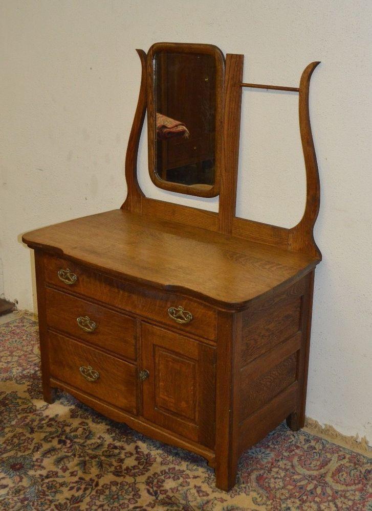 Antique Solid Oak Washstand Commode Dresser Amp WMirror
