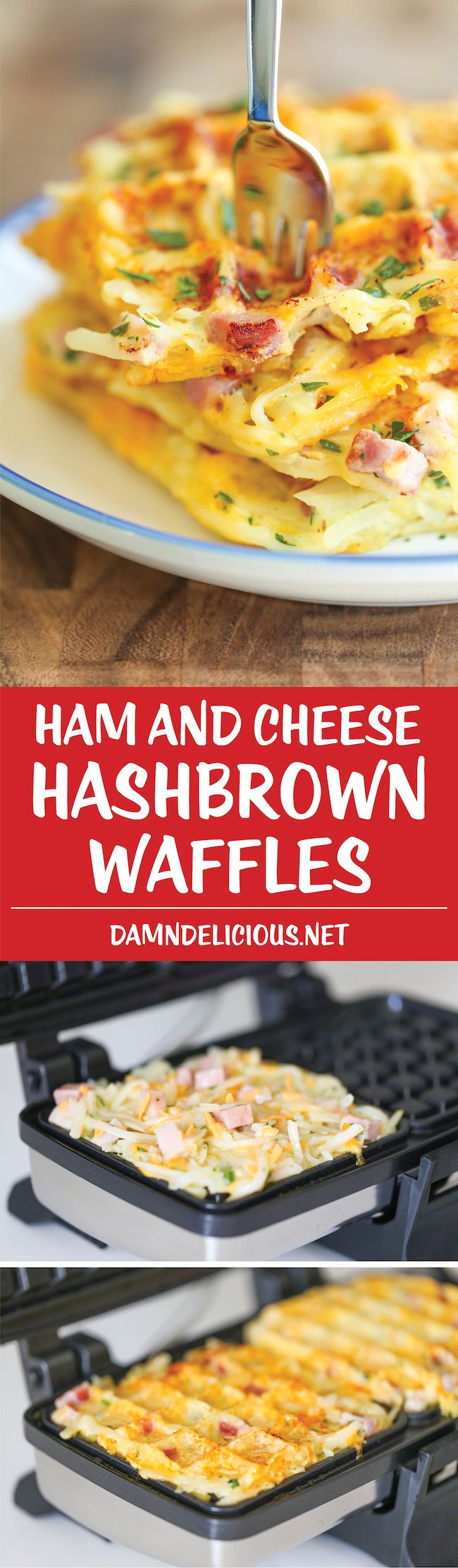 Ham and Cheese Hashbrown Waffles – Southern food, easy breakfast recipe
