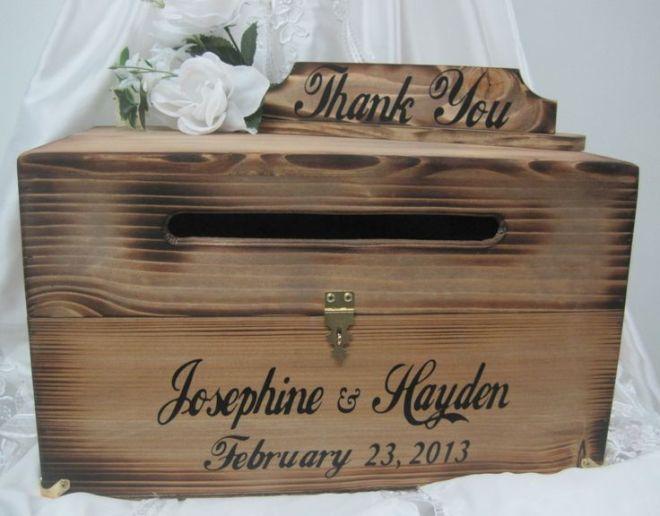 Large rustic wedding card box keepsake chest cards thank