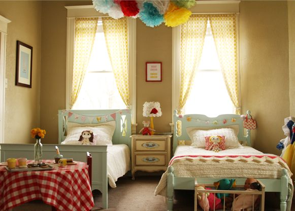 Adorable Shared Little Girls' Room. Love The Bunting On