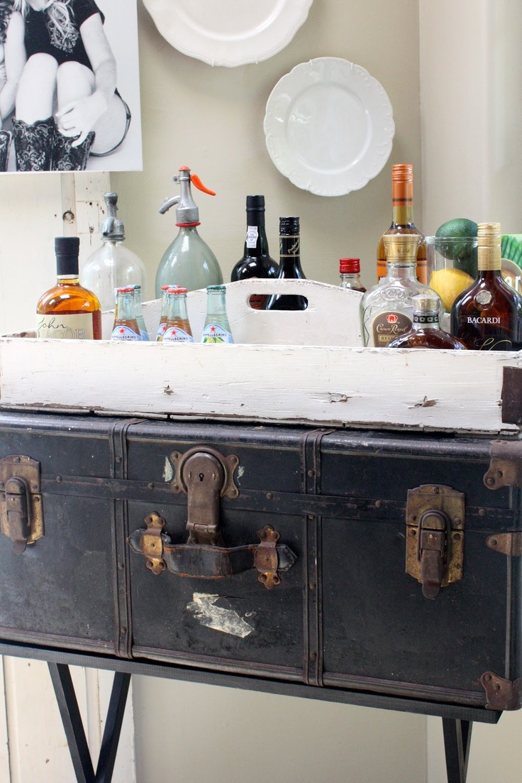 Bar Cart Ideas Put A Suitcase And Tray On A Folding