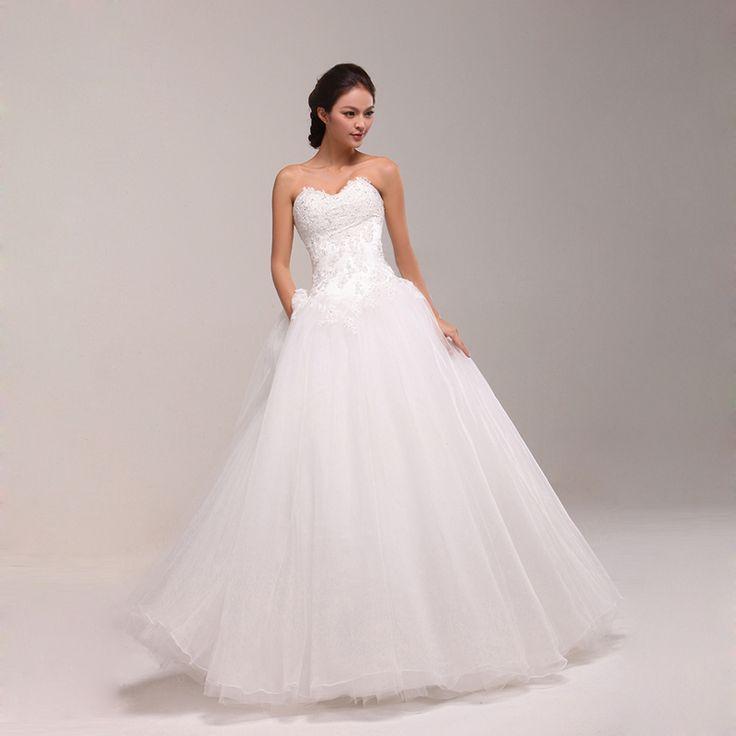 Beaded sweetheart neckline full A-line wedding dress.