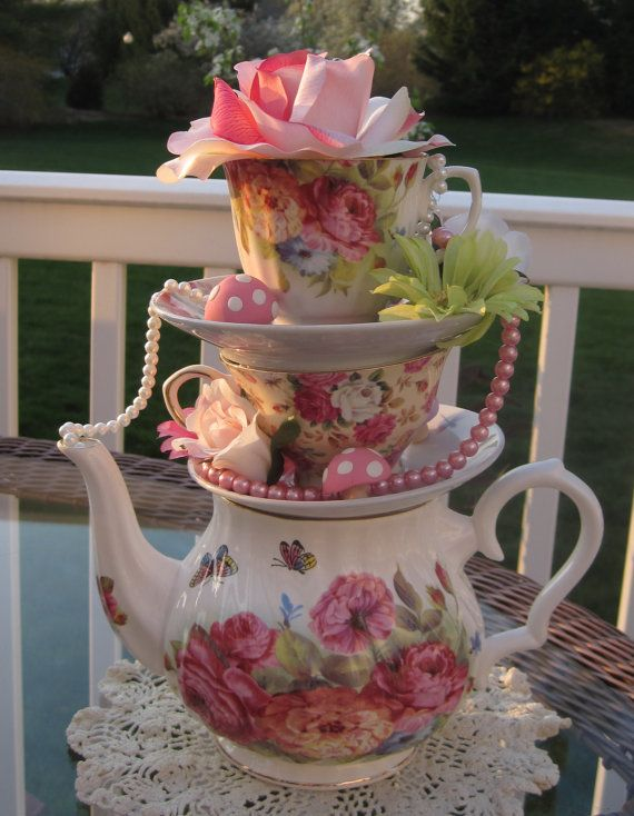 Stacked Floral TeapotTeacup Centerpiece Pastels 2