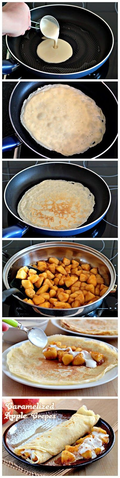 Caramelized Apple Crepes – yum.  Could also make caramelized banana crepes.  All can be made in advance.