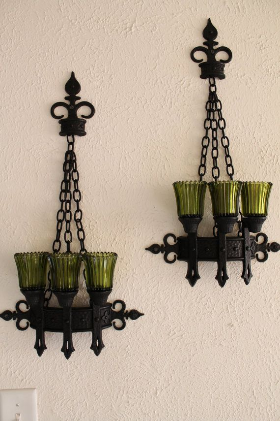 Candle Holder Vintage Set Glass Pillar Wall Victorian