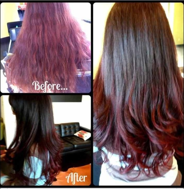 Nice Brunette Ombre To Burgundy BEFORE Amp AFTER Annalicia