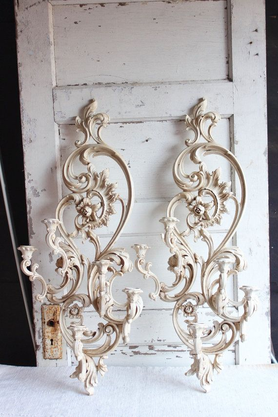 Vintage Syroco Large White Painted Candle Holder Wall ... on Vintage Wall Sconce Candle Holder Decorating Ideas id=45852