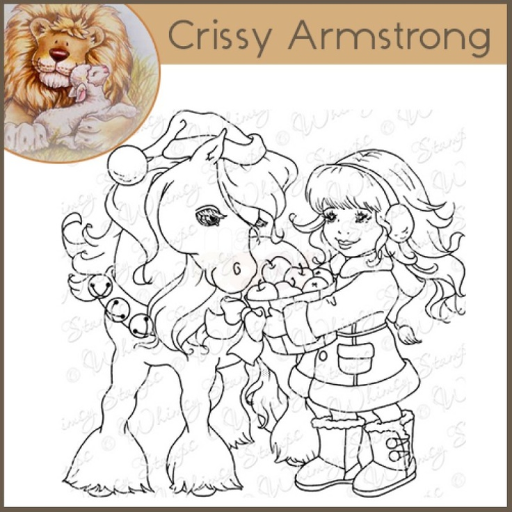 Whimsy Crissy Armstrong Rubber Stamp Christmas Pony