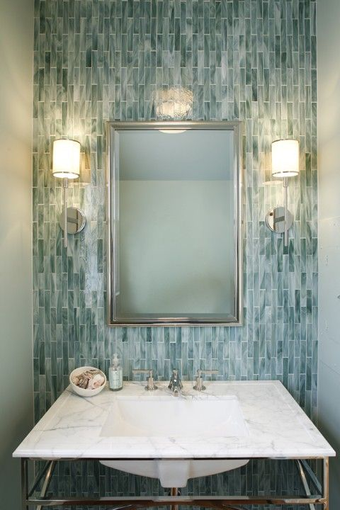 Gorgeous Vertical Blue Gray Tile With Marble Vanity Top