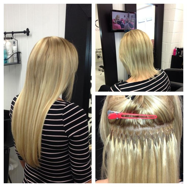 Full head of pre bonded hair extensions in 16 inch book