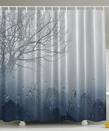 Ambesonne Rainy Scene Mystic Romantic Window Waterdrops View Melancholia Therapy Lonely Tree