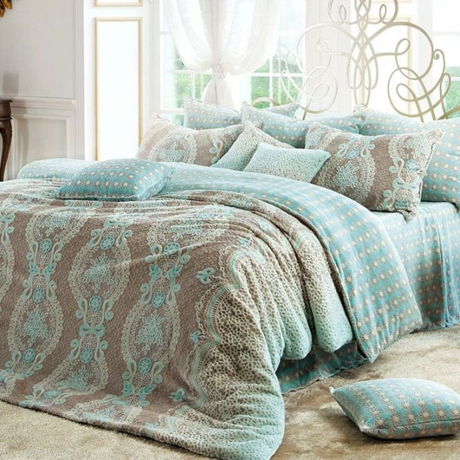 Bedroom Design Beautiful Sugary Tiffany Blue With Cool Patterned Bedding On Large Brown Furry Rug Plus Orted Throw Pillows And Corner End Table