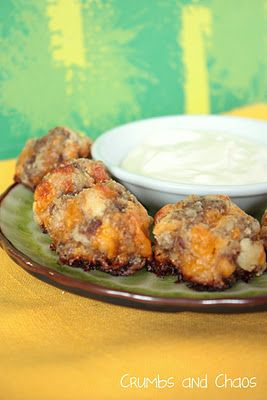 Cream Cheese Sausage Balls with Creamy Mustard Dipping Sauce
