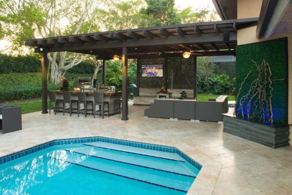 outdoor kitchen with pool and patio Outdoor Kitchen and pergola Project in South Florida