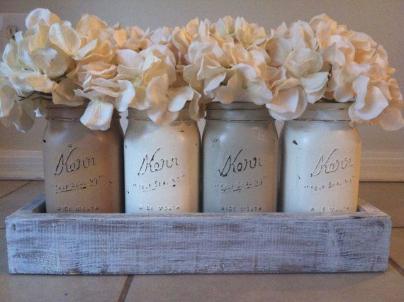 Rustic Mason Jar and wood box table Centerpiece wedding shabby chic distressed vase Neutral Colors via Ets