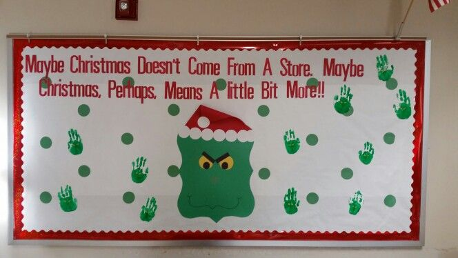My Grinch Christmas Bulletin Board With Handprint Grinches