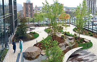 "hospital rooftop gardens ""A ""healing garden"" on the rooftop of the Smilow Cancer"