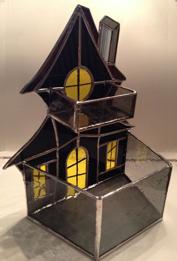Handmade Stained Glass Haunted House Candle Holder