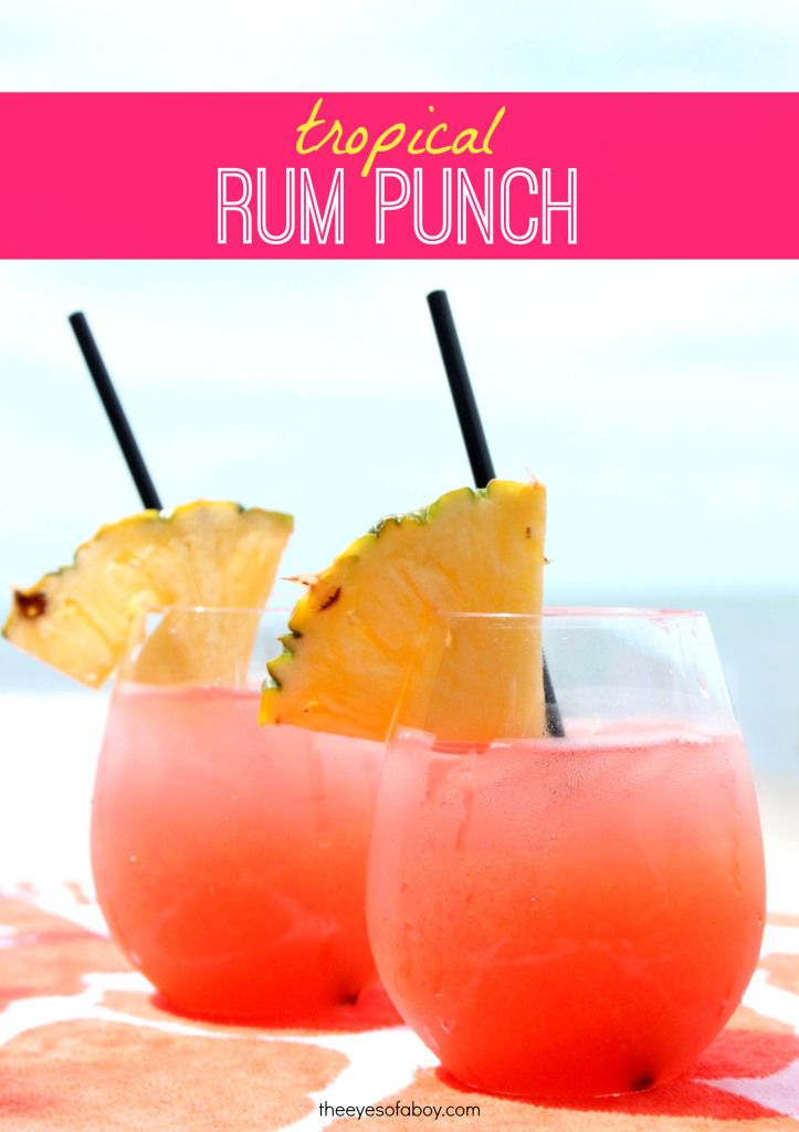 Tropical Rum Punch drink recipe – perfect for Summer weekends! 1 part Mango Rum, 1 part Red Rum, 1.5 o