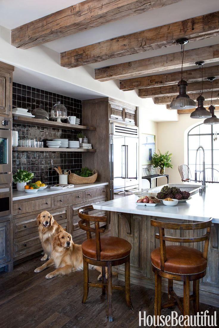 To add a sophisticated note to the mellow charms of old wood in this Los Angeles, California, kitchen, designer Chris Barrett