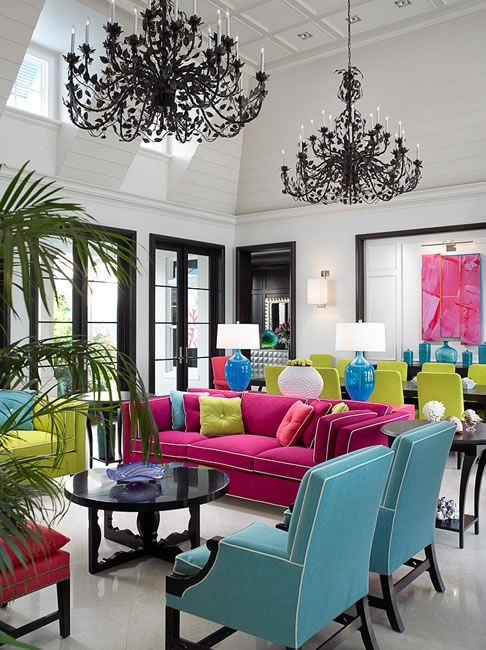 Black And White Room With Turquoise And Pink House
