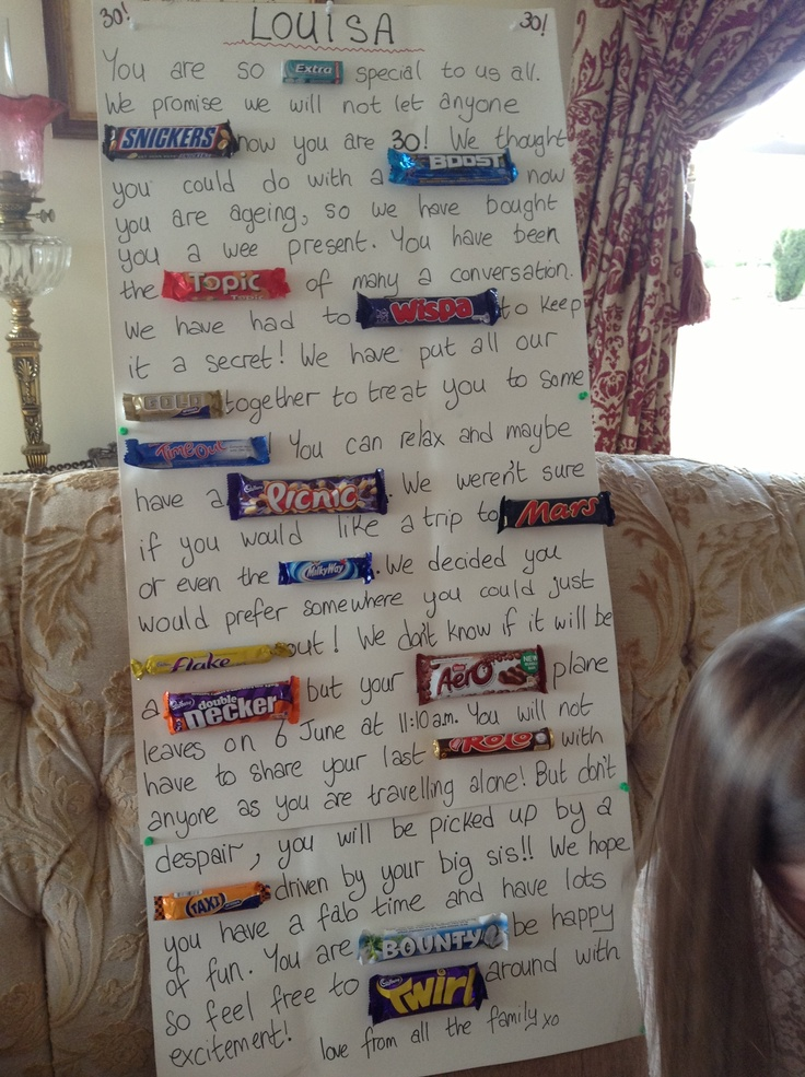 Chocolate bar poster for my sisterinlaws 30th birthday