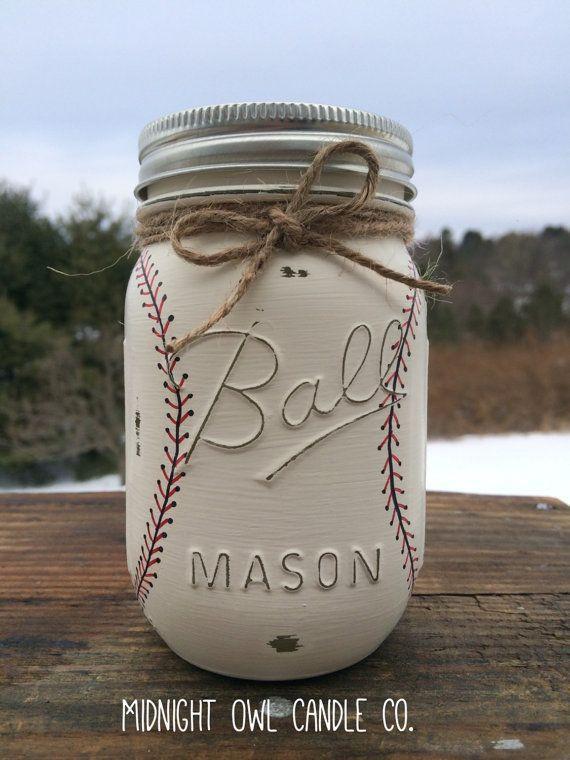 Hand-Painted Baseball Mason Jar Bank, Baby Shower Gift ...