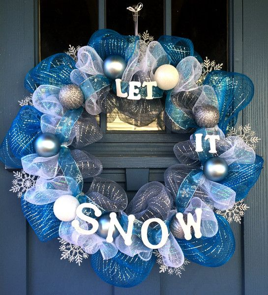 Let It Snow Wreath Snow Mesh And Silver