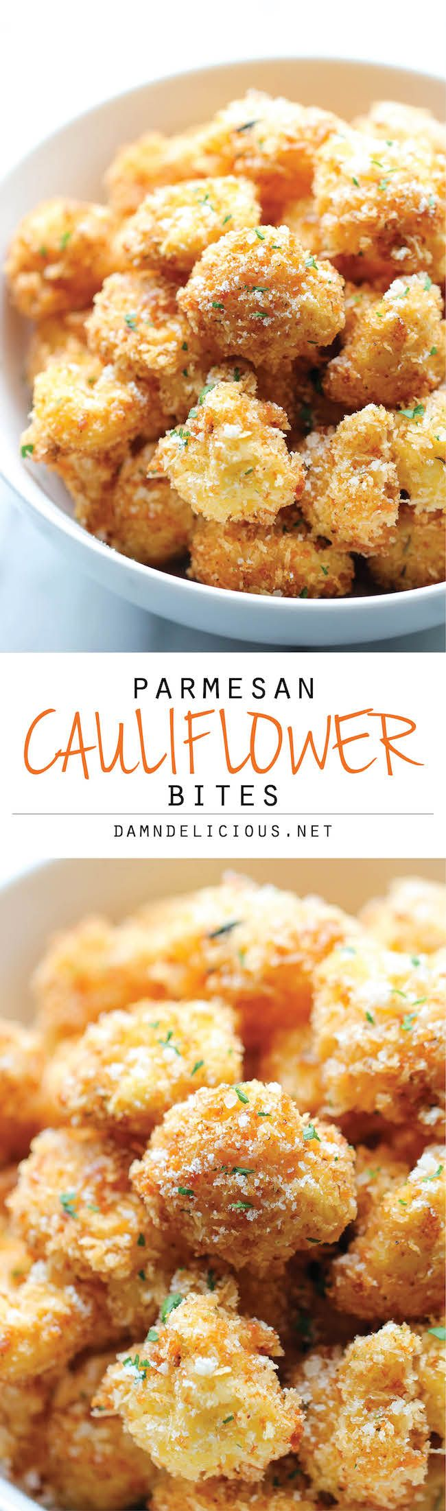 Parmesan Cauliflower Bites – Crisp, crunchy cauliflower bites that even the pick