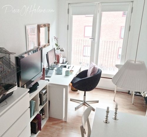Office Area In Tiny Studio Apartment With IKEA Melltorp
