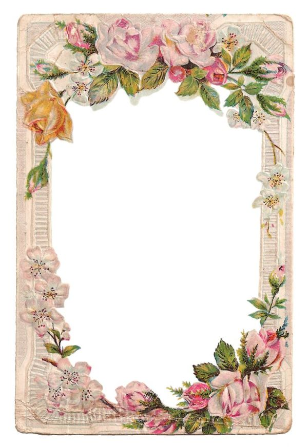Free Vintage Digital Flower Frame with Roses and Dogwood ...