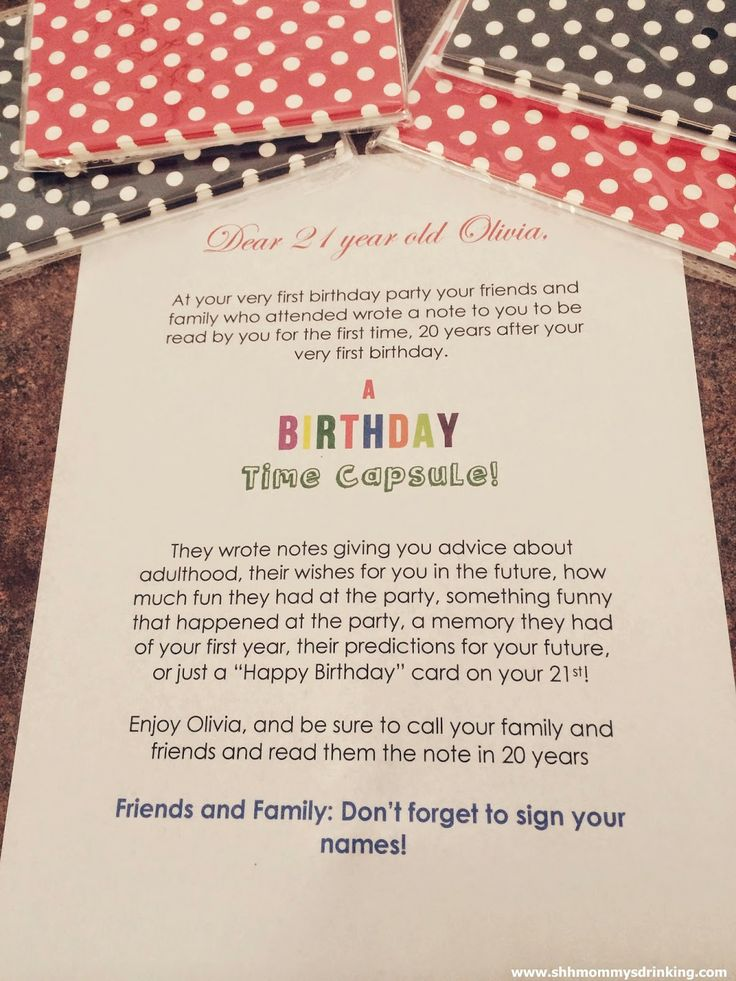 Birthday Time Capsule Note To The 1st Birthday Boy Or Girl From The Guests At The Party To Be