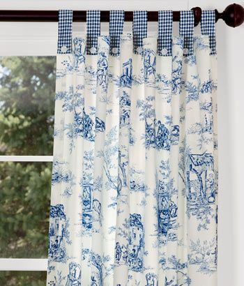 Lenoxdale Toile Button Tab Curtains With Laurel Check But