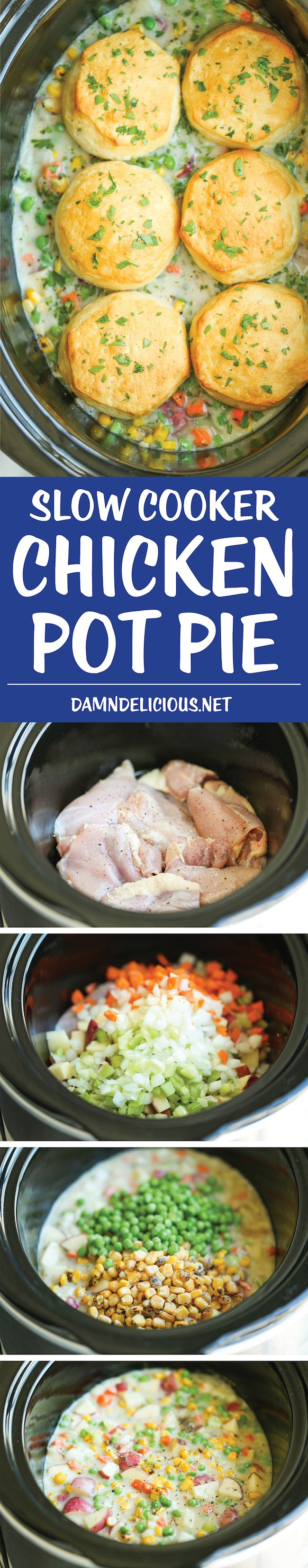 Slow Cooker Chicken Pot Pie – The easiest pot pie recipe ever made right in the crockpot from scratch – no condensed cream of