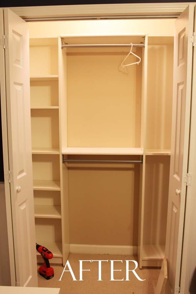 Great for organizing a small closet. Under $100 Closet System – a couple ikea bookshelves and some tension rods and there you have