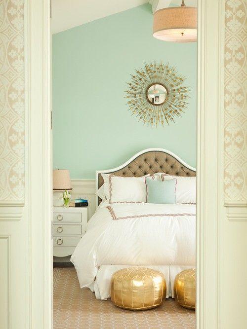 Dormitorio en mint y dorado