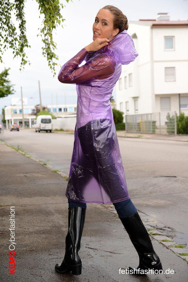 Transparent Purple Pvc Raincoat Retro Style With Rubber