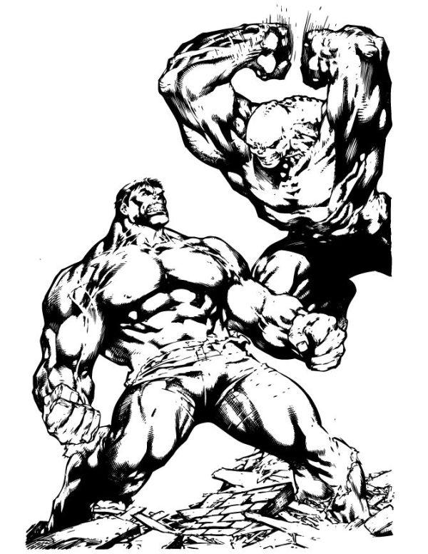 Incredible Hulk Fighting Coloring Page | Hulk Ironman ...