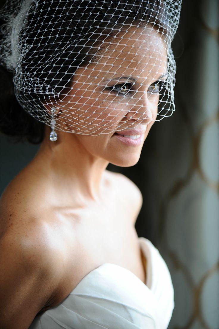 Smokey Eyes Bridal Updo French Netting Birdcage Veil
